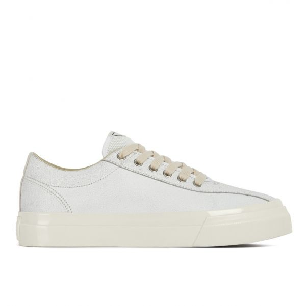 Unisex Stepney Workers Club Dellow Trophy Crack Leather White Sneaker Side