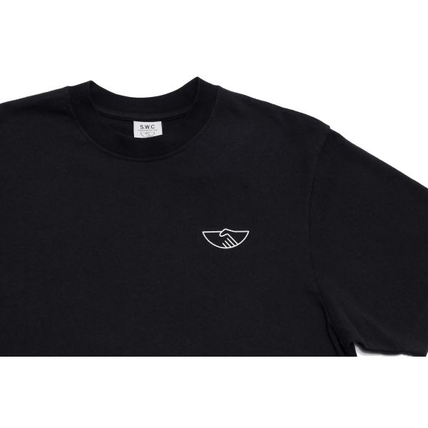 Stepney Workers Club Field T-shirt Black Front Close up