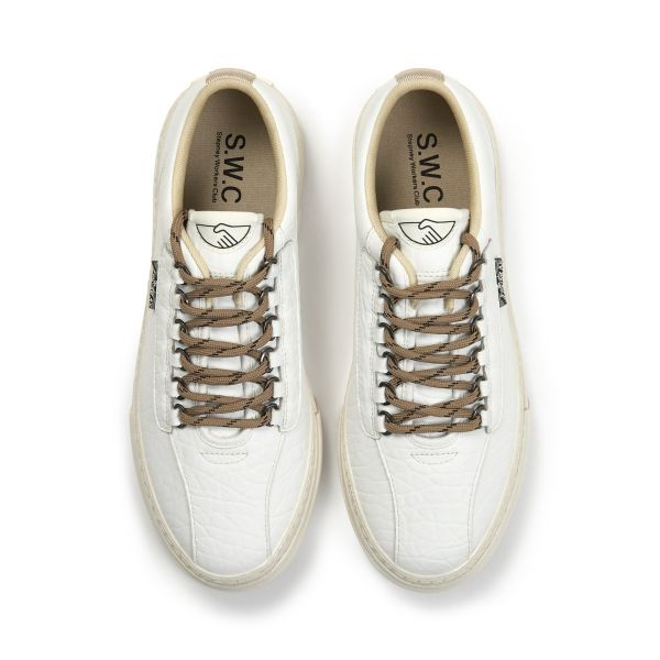 Stepney Workers Club Unisex Trainers Dellow Ramble Tumbled White Top
