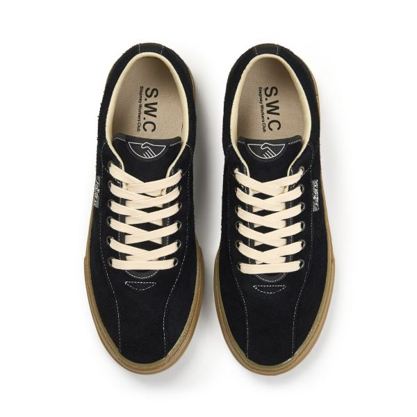 Stepney Workers Club Unisex Trainers Dellow Raw Suede Black/Gum Top