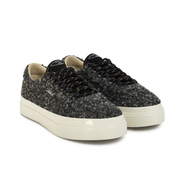 Stepney Workers Club Unisex Trainers Dellow Ramble Boucle Charcoal Three Quarter