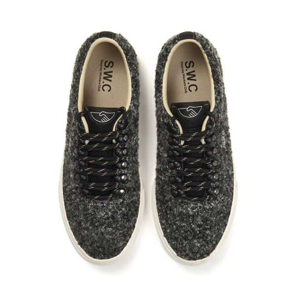 Stepney Workers Club Unisex Trainers Dellow Ramble Boucle Charcoal Top