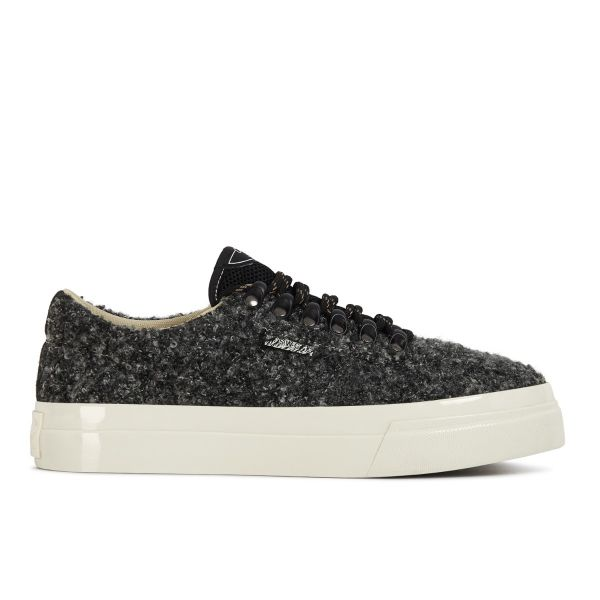 Stepney Workers Club Unisex Trainers Dellow Ramble Boucle Charcoal Side