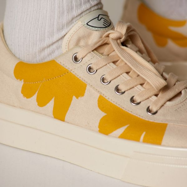 Stepney Workers Club Unisex Trainers Dellow Shroom Hands Ecru Close Up