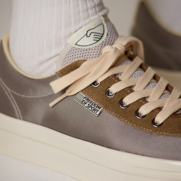 Stepney Workers Club Unisex Trainers Dellow Track Nylon II Silver Close Up