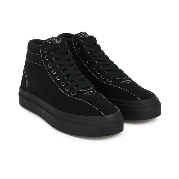 Stepney Workers Club Unisex Hi-Top Varden Canvas Matt Black Sneaker Three quarter